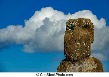 Isolated Moai against sky with cloud - Easter Island -...