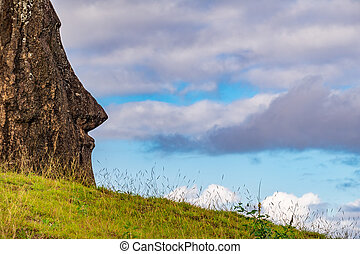 Isolated Moai against sky with cloud in Easter Island