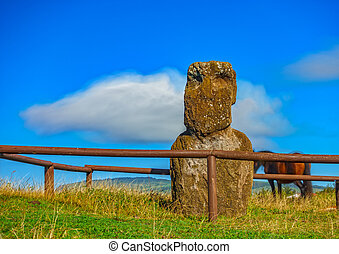 Isolated Moai, horse and cloud ultra long exposure -...