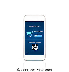 isolated mobile white phone with onlain shopping on the screen