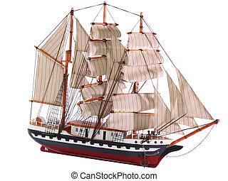 isolated., modello, frigate., navigazione