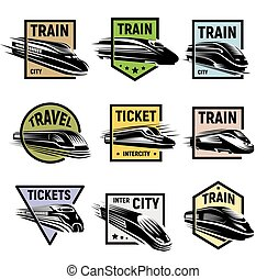 Isolated modern engraved train in colorful frame logos set on white background vector illustration.