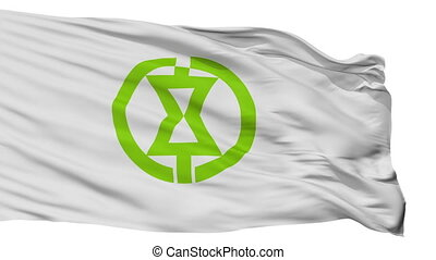 Isolated Monbetsu city flag, prefecture Hokkaido, Japan -...