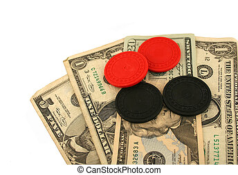 Isolated Money and poker chips