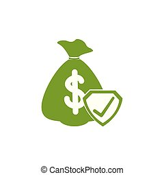 Isolated money bag icon green silhouette design