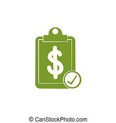 Isolated money document icon green silhouette design