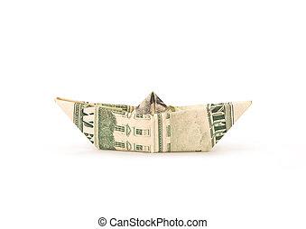 Isolated money origami ship