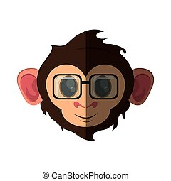Isolated monkey cartoon with glasses design