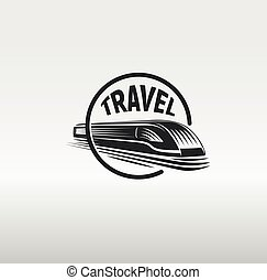 Isolated monochrome modern gravure style train in frame logo on white background vector illustration