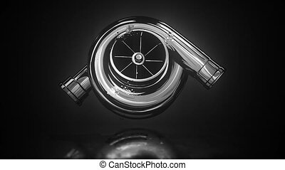 Isolated monochrome of car turbocharger