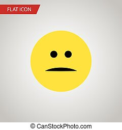 Isolated Mood Flat Icon. Displeased Vector Element Can Be Used For Displeased, Face, Mood Design Concept.