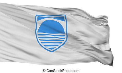Mostar flag, city of Bosnia Herzegovina, realistic animation isolated on white seamless loop - 10 seconds long (alpha channel is included)