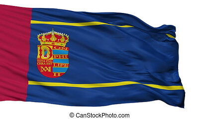 Isolated Mostoles city flag, Spain - Mostoles flag, city of...