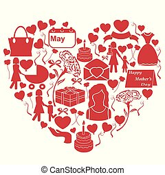 mothers day icons in heart shape