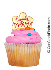 Isolated mothers day pink cupcake