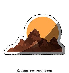 Isolated mountain and sun design