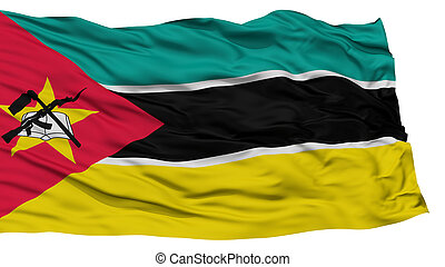 Isolated Mozambique Flag, Waving on White Background, High ...