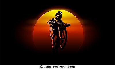 isolated mtb biker sump sunset background vector illustration