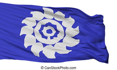 Isolated Muko city flag, prefecture Kyoto, Japan - Muko flag...
