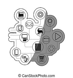 Isolated multimedia icon set design