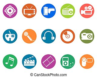 multimedia round button icons set