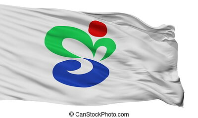 Isolated Munakata city flag, prefecture Fukuoka, Japan -...