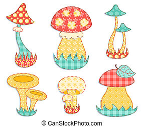 Isolated mushroom patchwork set. - Vintage mushroom set. ...