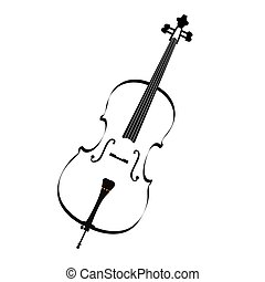 Isolated musical instrument - Isolated sketch of a cello,...