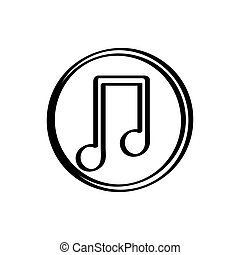 Isolated musical note icon on a white background