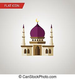 Isolated Muslim Flat Icon. Traditional Vector Element Can Be Used For Muslim, Traditional, Minaret Design Concept.