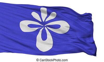 Isolated Nagai city flag, prefecture Yamagata, Japan - Nagai...