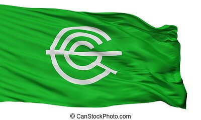 Isolated Nagaokakyo city flag, prefecture Kyoto, Japan - ...
