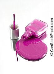 Nail Polish Spilling on a Mirror - Isolated Nail Polish...