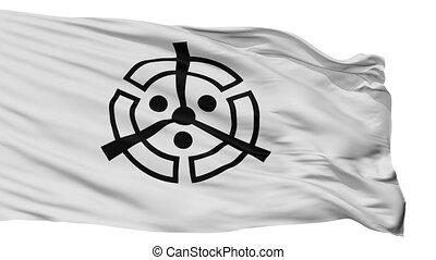 Isolated Nakatsu city flag, prefecture Oita, Japan - Nakatsu...