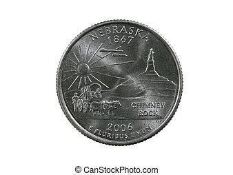 Nebraska state quarter coin isolated on white background