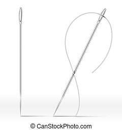 Isolated Needle and thread isolated on white. Vector...