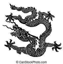 isolated., negro, vector, illus, dragón