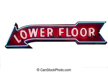 "Isolated Neon Sign ""Lower Floor\"" Arrow"