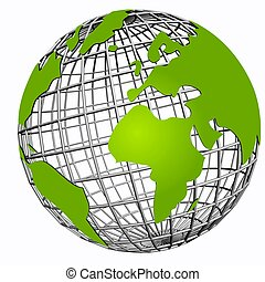 isolated net globe green