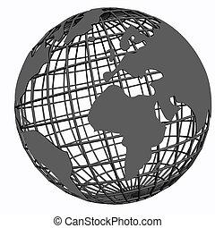 isolated net globe grey