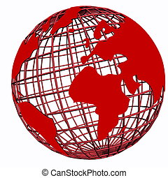 isolated net globe red
