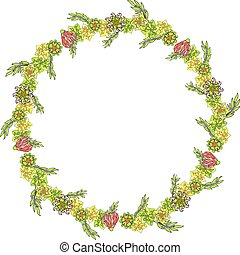 Isolated nice yellow wreath with various flowers