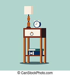 Isolated nightstand with lamp, alarm-clock, books.
