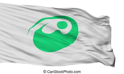 Isolated Nishitokyo city flag, prefecture Tokyo, Japan -...