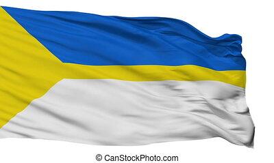 Isolated Nizhnevartovsk city flag, Russia - Nizhnevartovsk...
