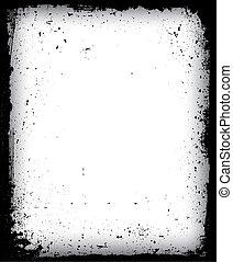 isolated., noir, cadre, vecteur, grunge
