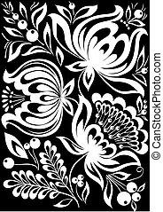 isolated., noir, feuilles, fleurs, monochrome, beau, blanc