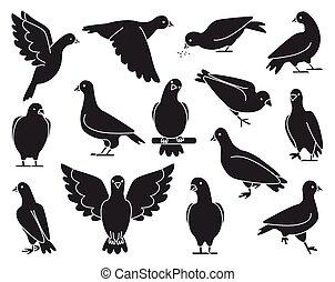 .isolated, noir, illustration, ensemble, pigeon, icône, vecteur, colombe, oiseau, arrière-plan., pigeon., paix, blanc