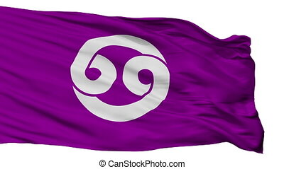Isolated Nonoichi city flag, prefecture Ishikawa, Japan -...