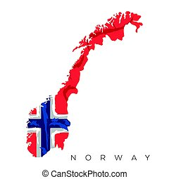 Isolated Norwegian map with its flag, Vector illustration